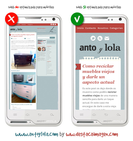 Diferencias de una web optimizada para moviles y tablets
